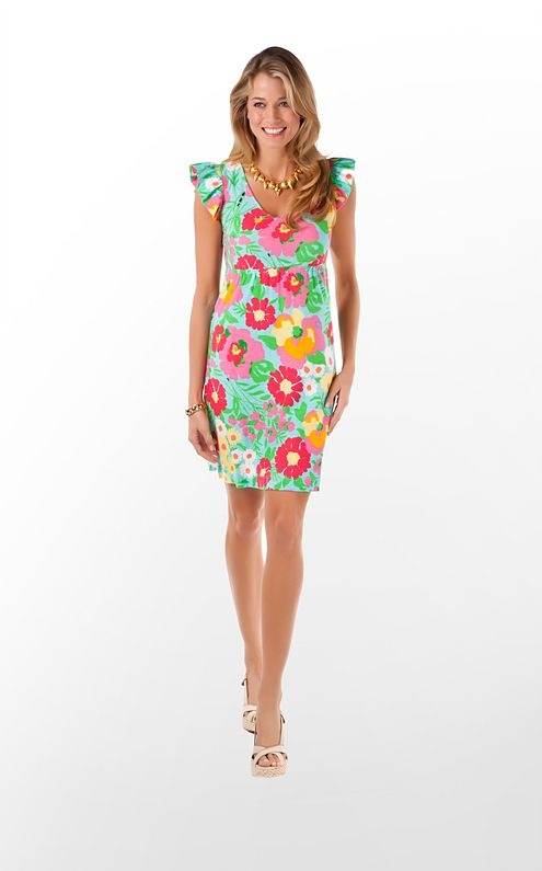 Lilly Pulitzer Briony dress in Shorely Blue Big Garden By The Sea    $118