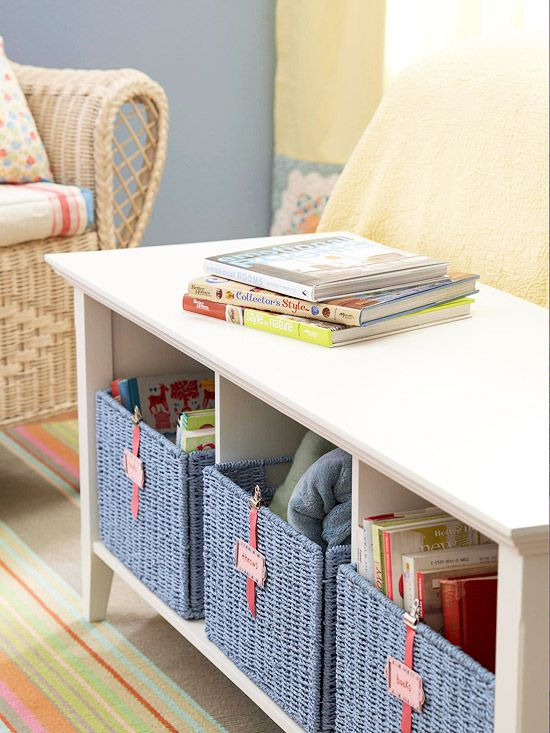 Fabulous Storage Footboard  Turn a low shelving unit into a footboard that provides a spot to sit down as well as a place to stash stuff. Stock the shelves with matching baskets to keep books and blankets neatly tucked away.