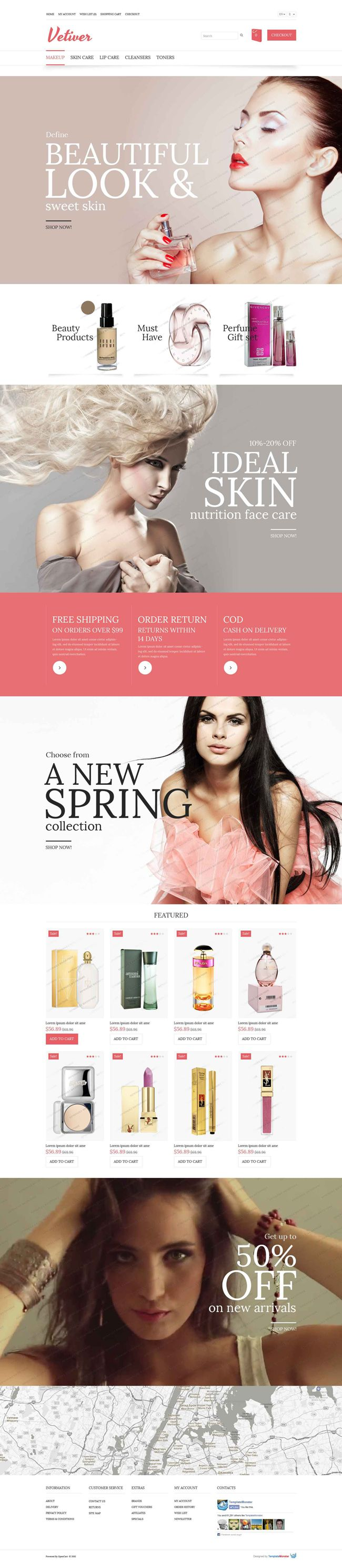 Contemporary Style OpenCart Cosmetics Store Theme (#PSD, #OpenCart)