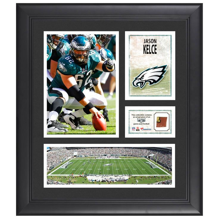 "Jason Kelce Philadelphia Eagles Fanatics Authentic Framed 15"" x 17"" Collage with Piece of Game-Used Football - $63.99"