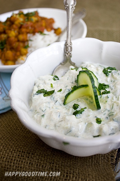 Channa Masala and Cucumber Raita