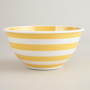 Yellow and White Striped Mixing Bowl - The sunny stripes make me want to reorganize my hutch and make room to display this pretty bowl.