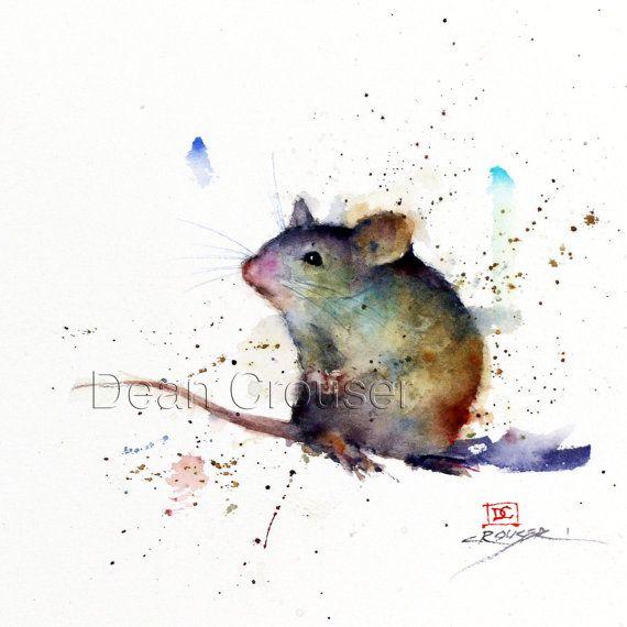 Maus-Aquarell-Print von Dean Crouser von DeanCrouserArt auf Etsy