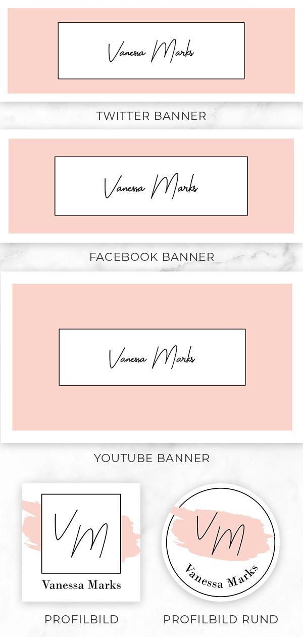 Social Media Branding Kit Rosa Stempel Layout Facebook Titelbild Banner Set Profilbild Logo Instagram Vorlage Cover Foto Blog Header In 2020 Blog Header Social Media Branding Branding Kit