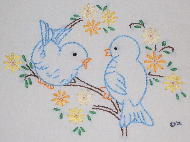 vintage pattern with blue birds and yellow flowers