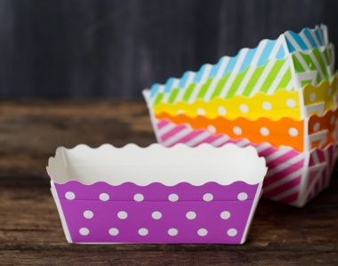purple and white polka dot rectangle paper disposable loaf pans for baking packaging and & 34 best Paper Cup Crafts images on Pinterest | Crafts for kids ...