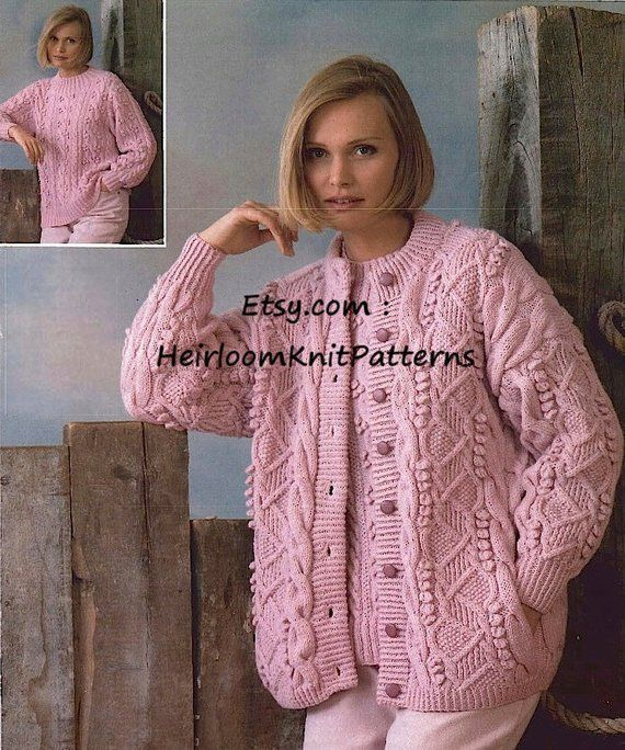 Women S Aran Cardigan And Dk Sweater Knitting Pattern Pdf Knit