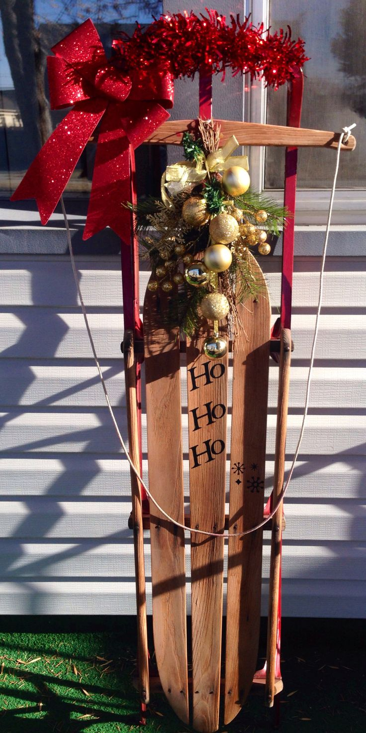 Antique sled porch decor my creations pinterest for Antique sled decoration