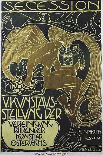 Secession poster, 1899, by Koloman Moser (Austrian, 1868–1918). Intentan uir de las. Proporciones. Estándar