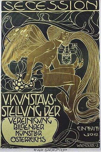 Secession poster, 1899, by Koloman Moser (Austrian, 1868–1918). Moser is associated with the Viennese Secession movement, and was co-founder of the Wiener Werkstatte