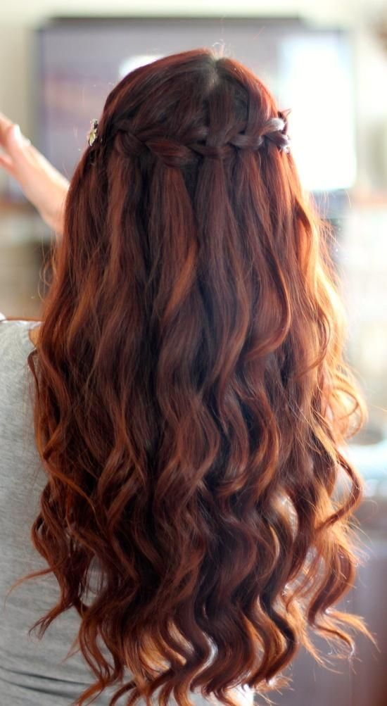 Auburn waterfall Braid...I want this to be my wedding hair-do. (: Matches my hair color and everything.