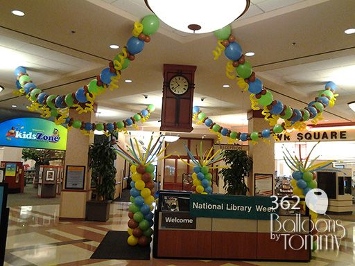 National library week balloon decor balloons by tommy for Balloon decoration for ceiling