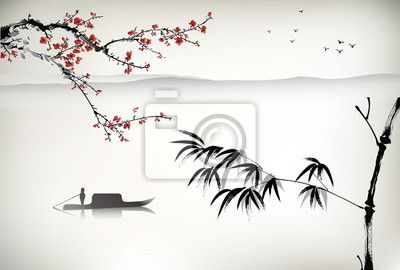 Sticker Chinese landscape painting