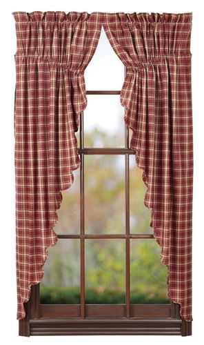 I love our prairie curtains.  They are so charming and would look so cute in any room in you home.  Our Kendrick Scalloped Lined Prairie Curtains are large barn red plaid print.  http://www.primitivestarquiltshop.com/Kendrick-Scalloped-Lined-Prairie-Curtains_p_8662.html