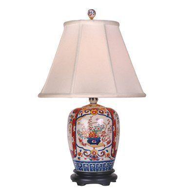 East Enterprises LPDBHL0812A Imari Porcelain Jar Table Lamp, Hand-painted