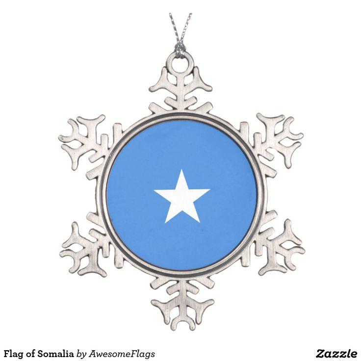 Flag of Somalia Pewter Snowflake Decoration