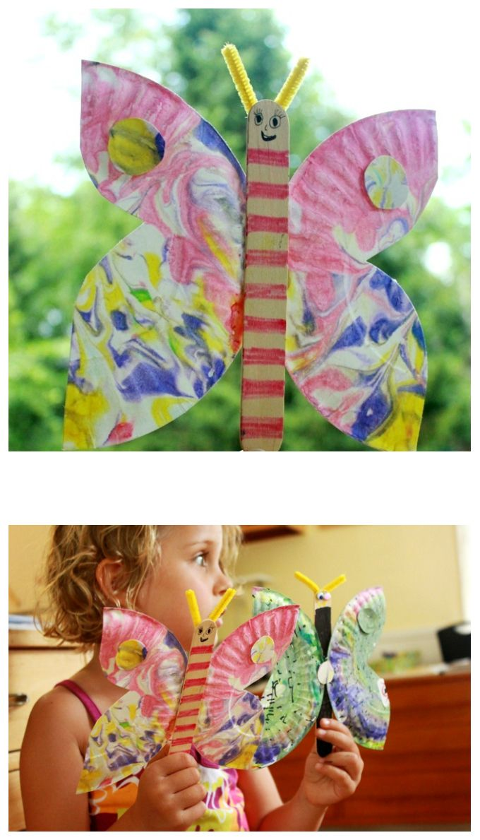 Do your kids like butterflies? This paper plate butterfly craft is a great summer activity and especially beautiful with marbled paper plates!