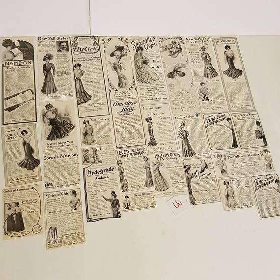U 25 antique Victorian ads 1909 Women's Magazine Ladies Home Journal ladies fashion ads advertising paper ephemera supplies lot