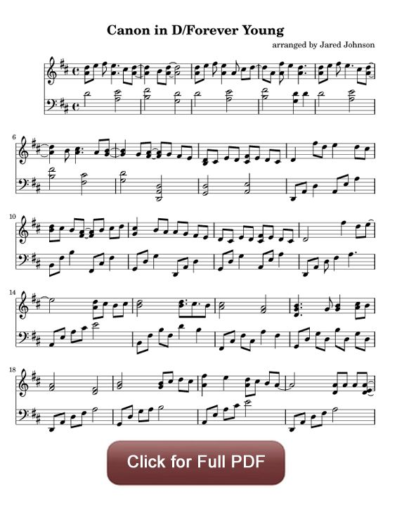 Canon in D / Forever Young - Pachelbel / Alphaville. Find more free piano sheet music at www.PianoBragSongs.com. Hear it here: http://soundcloud.com/jared-johnson-1/canon-in-d-forever-young