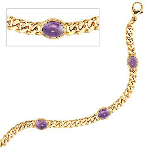 Damen-Armband 4 Amethyst-Cabochons 14 Karat (585) Gelbgold 19 cm Dreambase, http://www.amazon.de/dp/B00AF86IHG/ref=cm_sw_r_pi_dp_syYPsb1EJRASJ