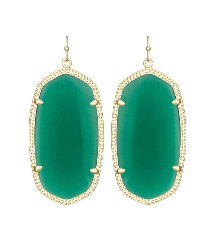 Kendra Scott Danielle Green Earrings 14K Gold