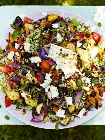 Griddled vegetables & feta with tabbouleh | Jamie Oliver (made this with Quinoa and it was awesome!)