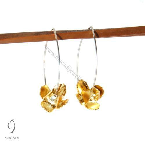 Yellow Gold Lotus Earrings
