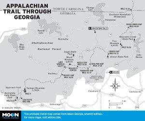 Map of Appalachian Trail Through Georgia