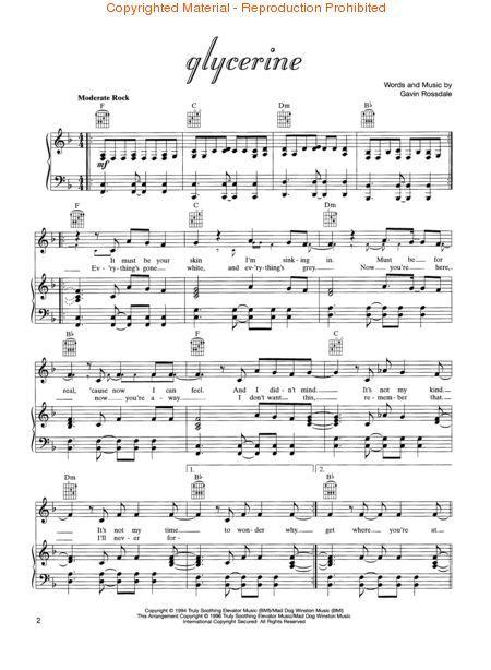 Glycerine Bush Music Sheet