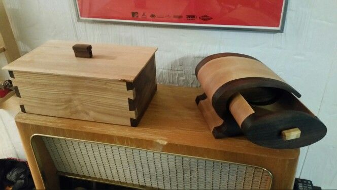Small box with dovetails and a bandsaw box. =)