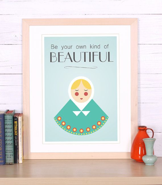 Beautiful folk girl  Scandinavian design  retro by EmuDesigns, $19.00
