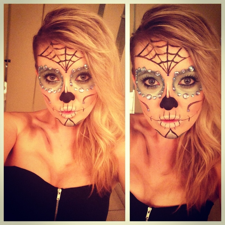 Halloween sugar candy skull day of the dead makeup #halloween #halloweenmakeup