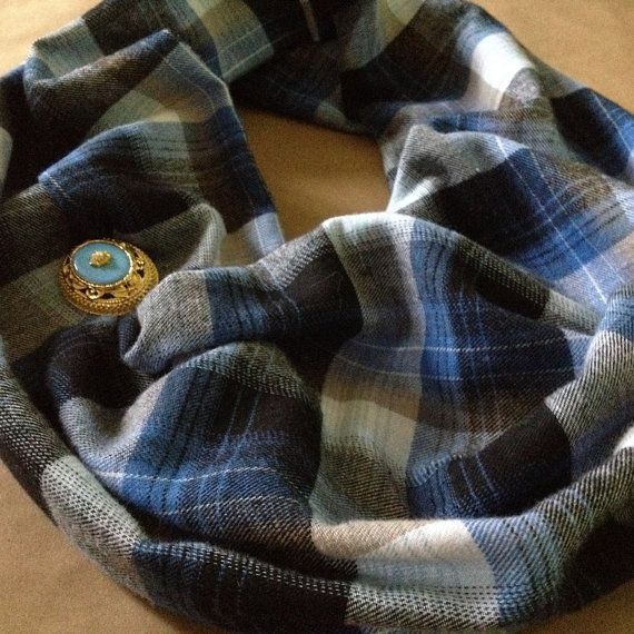 Cotton Infinity Scarf: Plaid Cotton Scarf by AlannaAccessories