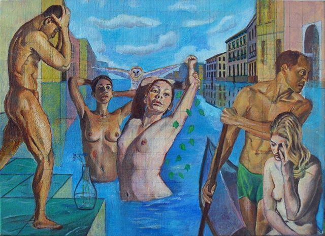 """Reposting @gestodedios: """"Mar y alquimia"""" continua su proceso... Ahora trabajo en las casas del fondo. ------ """"Sea and alchemy"""", working progress... Now I am working on the background houses. ------ #art #arte #pintura #painting #acrilico #acrylic #venecia #Venetia #mar #sea #gondola"""