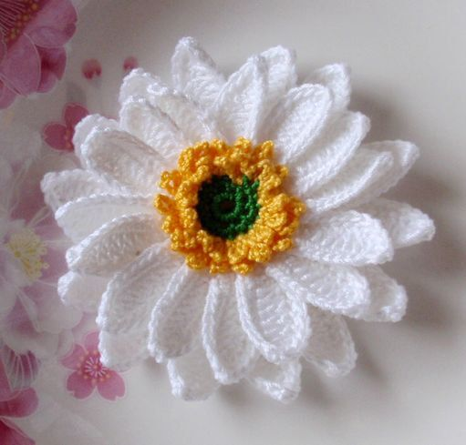 Larger Crochet Flower in 31/2 inches YH042 by YHcrochet on Etsy