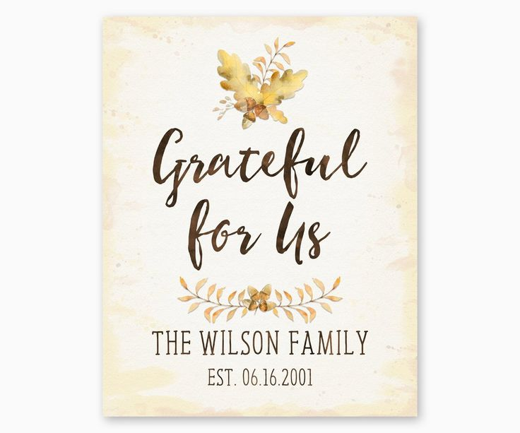 """Grateful for Us Family Name Wall Art This Rustic Watercolor Family Name Wall Art is customized with your family name and established date. This """"Grateful for Us"""" print makes a unique anniversary, housewarming or wedding gift."""
