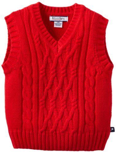 Kitestrings Baby-Boys Infant V-Neck Sweater Vest, Red, 6-9 Months $30.08