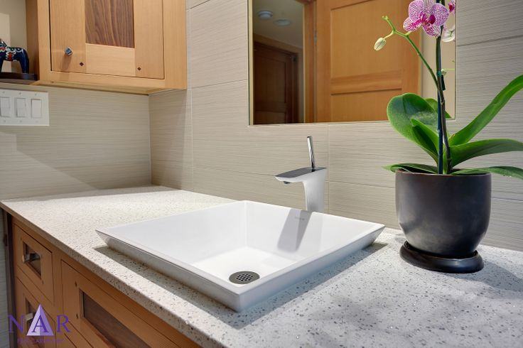 Semi Recessed Vessel Sink On Simmering Quartz Countertop Mirror Set Flush With Wall Tile