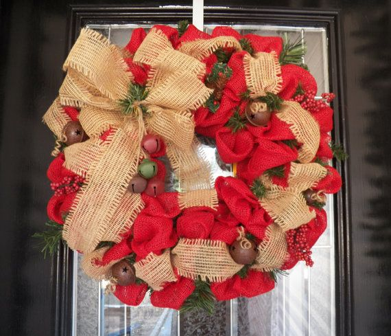Red Burlap Christmas Wreath Burlap Door by OccasionsBoutique