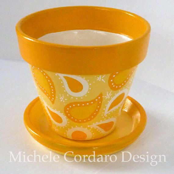 Paisley Flower Pot in Cream & Yellow  by MicheleCordaroDesign