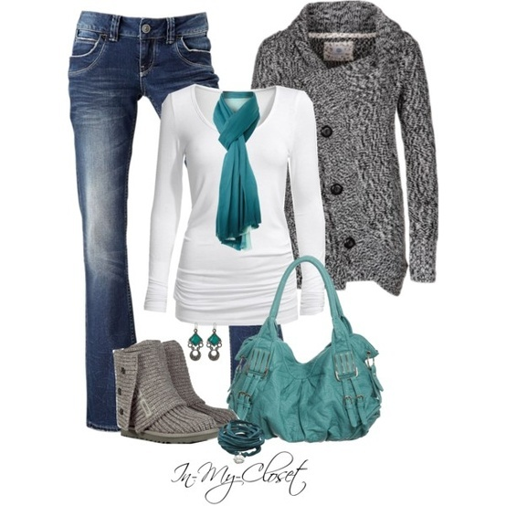 leggings, white long sleeve, grey sweater, turquoise scarf, and grey UGG/flats