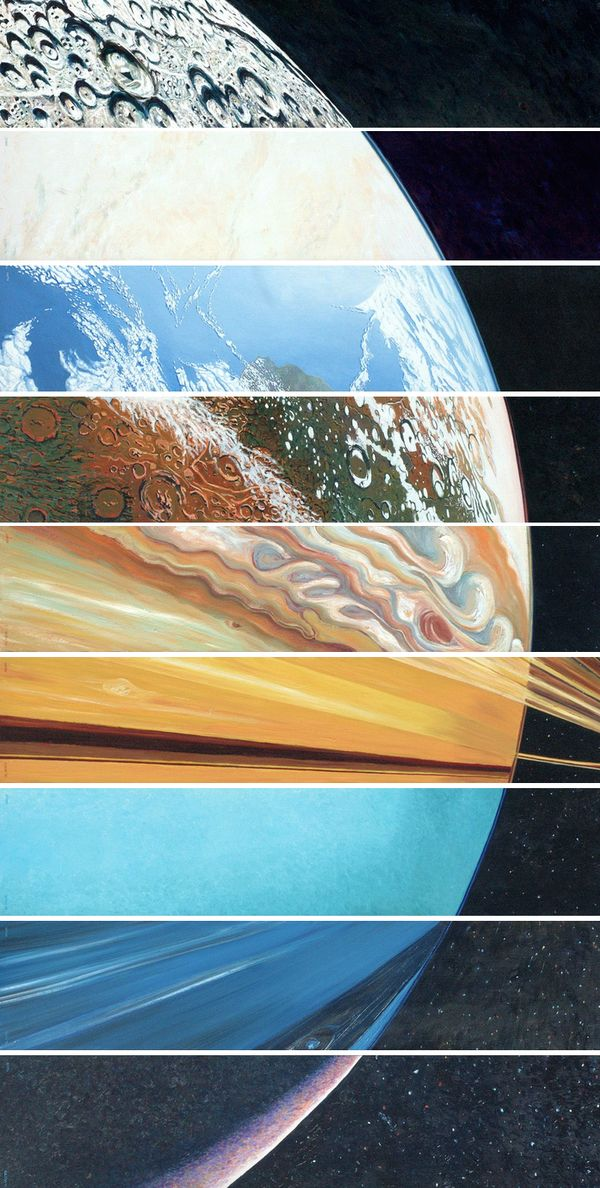 A wonderful image which combines a section of each of the 9 planets of the solar system.