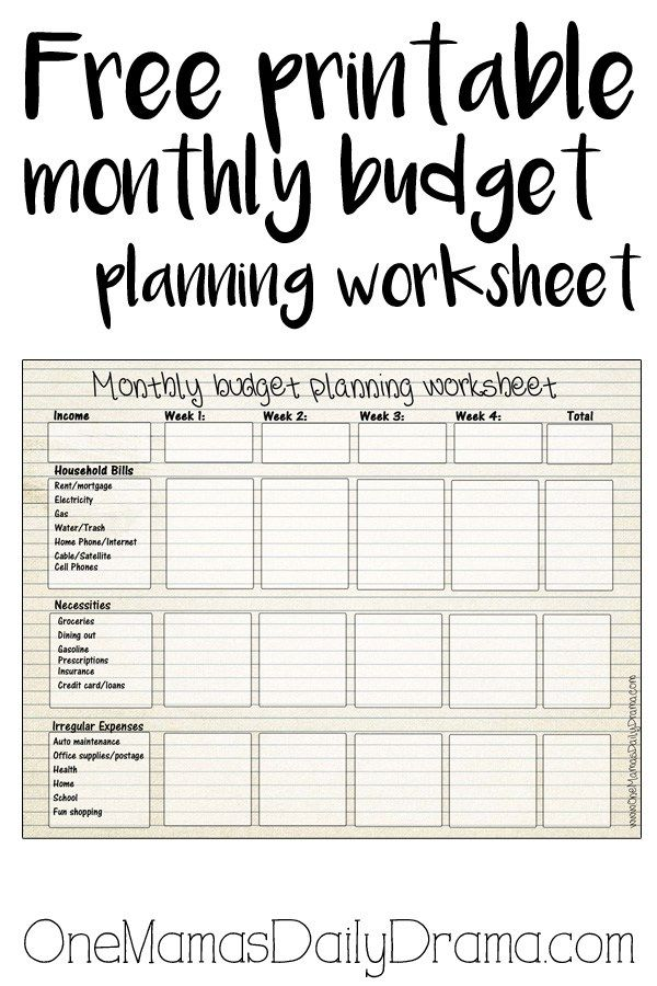 Free printable monthly budget worksheet – Income and Expenses Worksheet