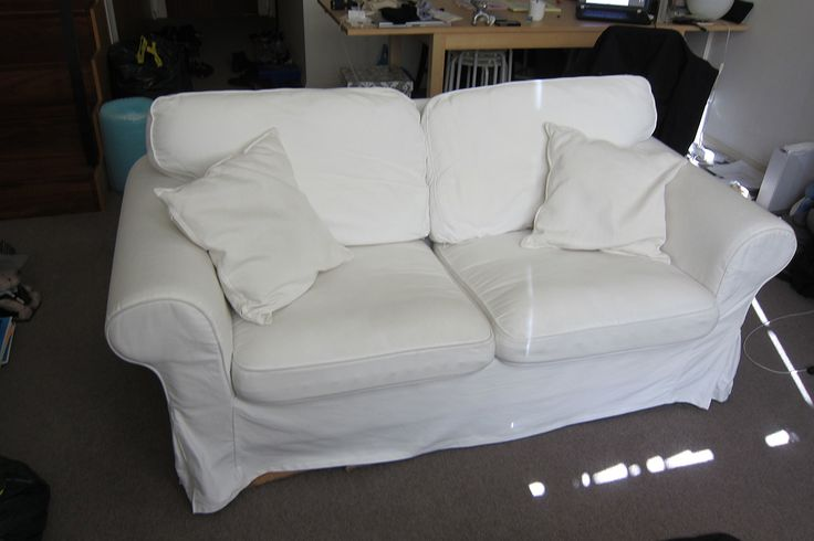 IKEA EKTORP Two-seat sofa with BONUS cushions! (http://www.ikea.com/au/en/catalog/products/S89932588/)  - Assembled size Depth: 88 cm Seat depth: 49 cm Seat height: 45 cm Height: 88 cm Width: 179 cm  - The cover is easy to keep clean as it is removable and can be machine washed.  - Condition: Used  - Price: $200 ONO.  Original price $468 = $399 (sofa) + $69 (sofa) cover)