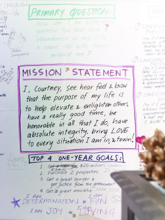 "awesome mission statement by Courtney Love.... guess I'm not the only one who likes to make ""life goals""."
