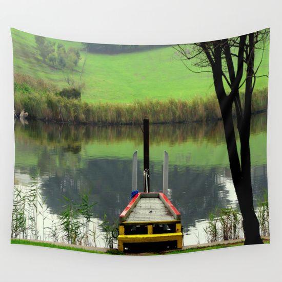 River, Reflections, Fog, Farmland, Pier, Colourful, Landscape, Australia.