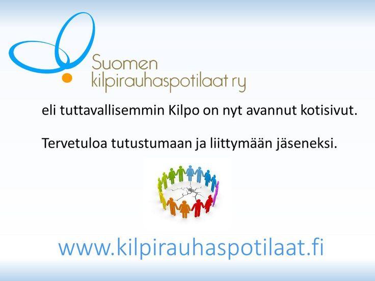 Finlands sköldkörtelpatienter rf, som lystrar till smeknamnet Kilpo, publicerar sin nya sajt idag. Välkommen att titta och bli medlem. #suomenkilpirauhaspotilaat #kilpofi