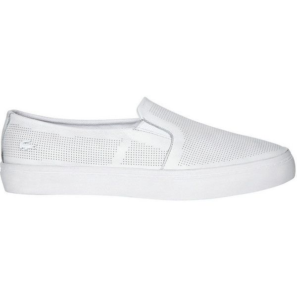 Lacoste Women's Gazon Slip On 116 (185 NZD) ❤ liked on Polyvore featuring shoes, sneakers, apparel & accessories shoes, white, slip-on shoes, white leather shoes, white slip on shoes, white leather sneakers and perforated sneakers