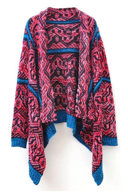 Rose Red Long Sleeve Asymmetrical Geometric Pattern Sweater