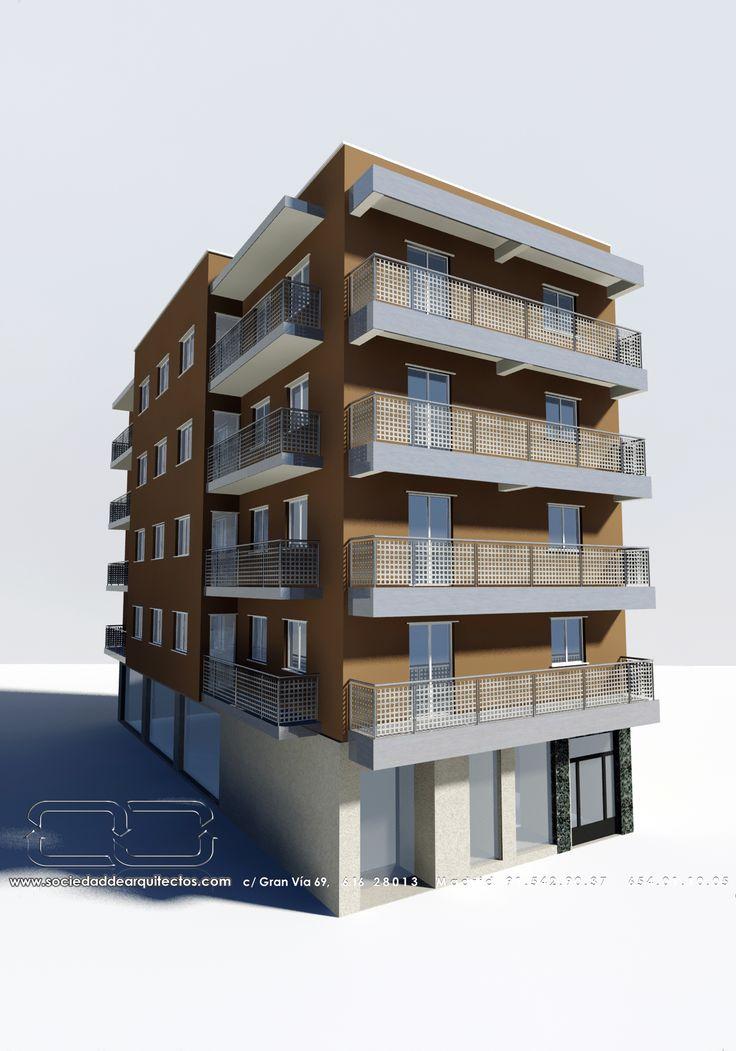 Edificios moderno balcon exterior puertas dibujos for Exterior edificios